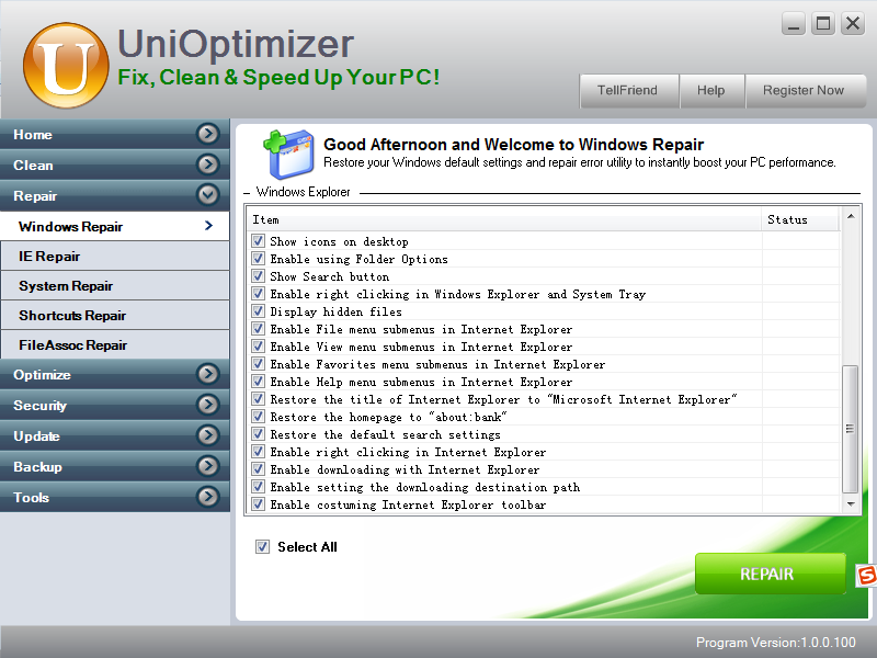 Unioptimizer key generator